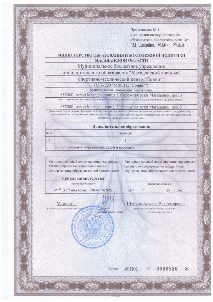 Приложении к лицензии