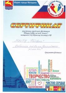14 Сертификат Городской фестиваль Твори добро на всей земле 2