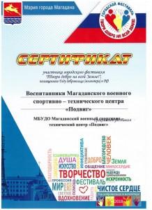 19 Сертификат Городской фестиваль Твори добро на всей Земле